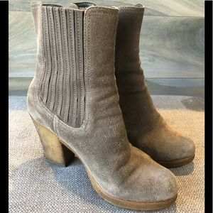 Prada Sport Grey Suede Heeled Ankle Boots